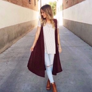 LulaRoe wine-colored long vest